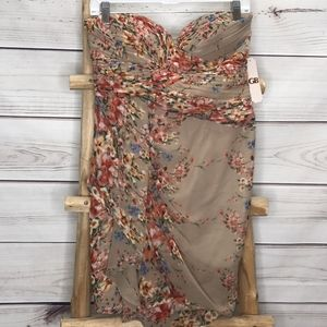 GB Floral Tan Strapless Dress NWT Large